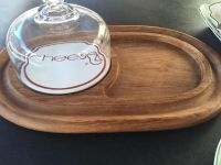Wooden cheese board and glass cover. Vintage
