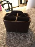 Brown leather remote caddy