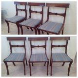 3 Vintage Mahogany Bar Back Blue Upholstered chairs with bow midrails