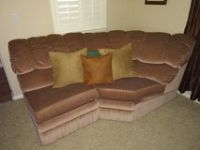couch 4 piece Sectional with recliner and a queen bed