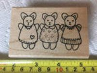 "Azadi Earles ""Three Bear Girl Friends"" rubber stamp - NEW!"