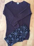 Plum longer sweater and legging outfit