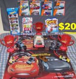 A Mix of 20 New & Slightly Used Cars along with Disney Cars Placemats & Trophy s