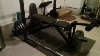 300 lbs weight set, bench, Olympic, curl bar etc