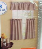 "NEW Mainstays 3 pc Taupe Kitchen Breakfast Rod Pocket 42""x84"" Panel Drape Curtain"