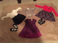 Three girl's 3T dresses, one cardigan and two pair toddler's girls size 10 patent leather shoes