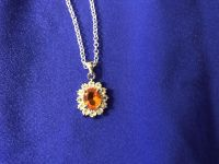 Amber Stone Surrounded by Cz & Set in 925 Sterling Silver on 16 Sterling Silver Chain With Lobster Claw Clasp