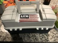 Tackle box with various baits