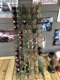 Coke bottles and misc bottles with display