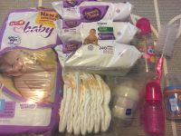 Baby Diapers size 1 wipes bottle lot POMS