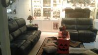 hunter green sofa with both ends recliners. matching loveseat double recliners