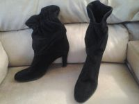 Black Suede Leather Dress Boots