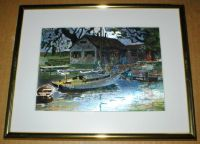 "Lionel Barrymore Vintage Color Etch Foil Print - ""Point Pleasant"" - Framed"