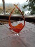 Chalet Art glass basket bowl