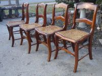 4 Antique Walnut Caned Chairs