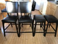 Dark Brown/Leather Counter Height Chairs(2pcs) + Stools(2pcs)