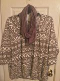 Ladies top with matching scarf