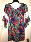 Hot Pink, Royal Blue, and Lime Green Tunic. Size 2X-3X.