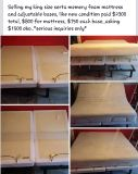 $1,500, king size memory foam mattress and adjustable bases