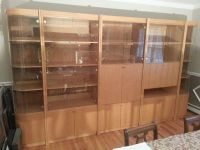 Oak Entertainment Wall Unit with Bar and TV section