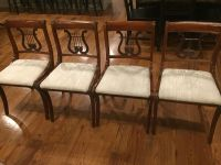 Set of 4 harp back dining chairs