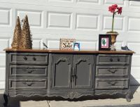 STANLEY Slate gray French provincial buffet/triple dresser/TV console/double vanity/Sofa table