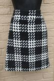 """ADORABLE PLAID BLACK, AND WHITE SKIRT, lined, Waist measures 30"""""""