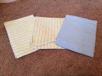 Set of 3 light weight blankets - 2 yellow striped and blue blanket