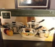 Gibson Home 7 Piece Stainless Steel Cookware Set. New! Never Opened!