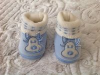 New Reindeer Baby Boy Velour Booties, size 0-9 months
