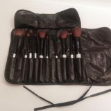 Makeup brush set with roll up case