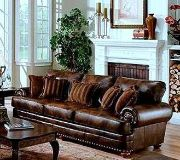 Comfy brown leather sofa