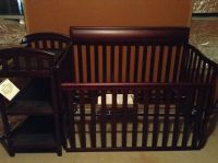 Cherry wood Baby Crib  changing table