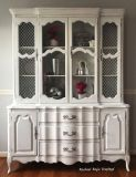 White Vintage French Provincial China Cabinet