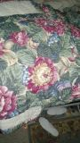 QUEEN SIZE BEDSPREAD. BEAUTIFUL, BUT HAS A COUPLE OF STAINS ON THE UNDERSIDE