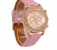 New pink bling clasp leather band watch