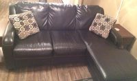 $400, Black leather couch w versatile ottoman  chaise lounge