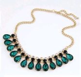 New green black rows clasp necklace