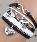 Sister and dove bracelet leather type with adjustable clasp - NEW!