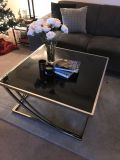 Black glass coffee and end tables