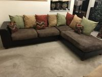 2pc Brown Faux Leather Base Pillow Back Sectional-Green, Red, Tan