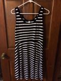 EUC (large) black and white striped Old Navy dress