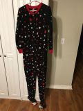 Woman s footie pjs with stuffed puppy on feet Size Large