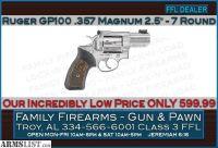 For Sale: Ruger GP100 7-shot .357 Magnum snub nose at ONLY 599.99