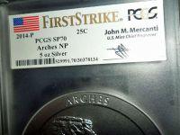 2014-P F/S PCGS SP 70 ARCHES NATIONAL PARK 5 oz. SILVER QUARTER with JOHN M. MER