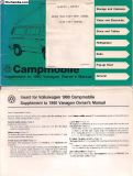1980 Westfalia Camper Bus Owner's Manual
