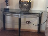 5 piece glass table set 2 end tables 2 half tables one coffee table