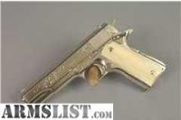 For Sale: Colt 1911 Government Model Nickel-Engraved ! John Adams Jr-Commercial Colt 1911-Giraffe Stocks