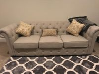 Tufted Oatmeal colored couch