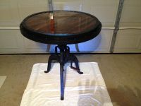 $700, Industrial Handcrank iron base bistro table